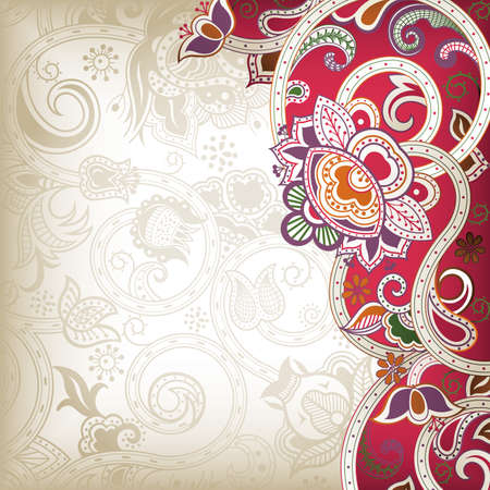 mariage indien: R�sum� Red Floral Background Illustration