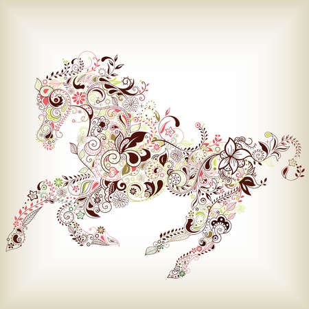 Abstract Floral Horse Stock Vector - 12268810