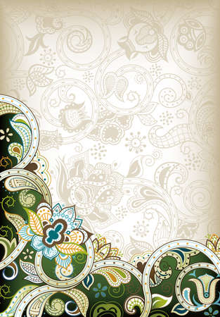 Abstract Green Floral Illusztráció