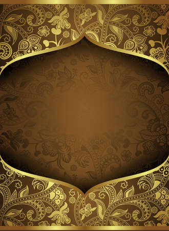 Abstract Gold Floral Frame Background Ilustração