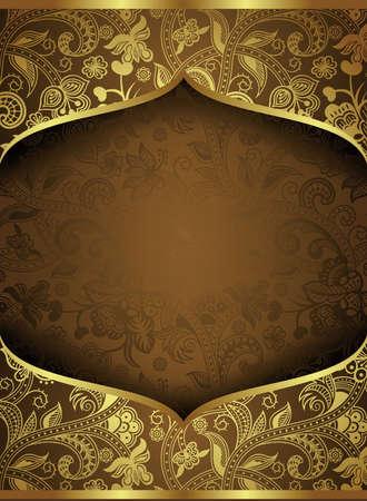 Résumé fond d'or Floral Frame