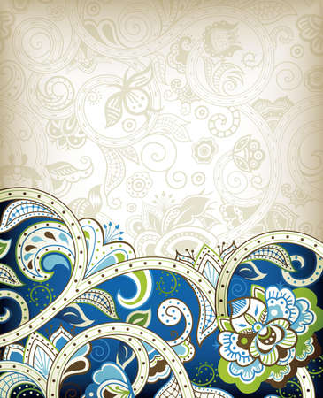 Abstract Blue Floral Scroll