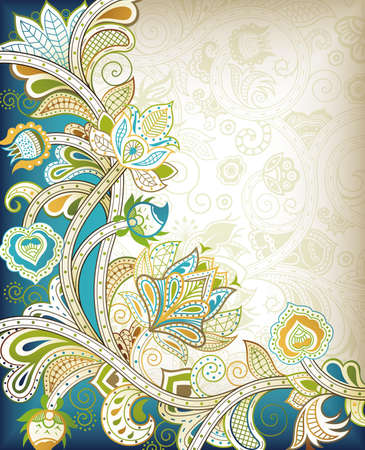 teal: Abstract Teal Floral Illustration