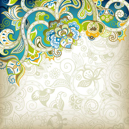 teal: Abstract Floral Background
