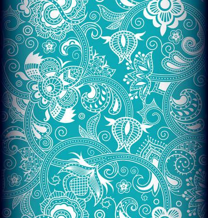 turquesa color: Seamless floral 4 Vectores