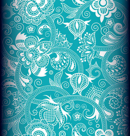 turquoise background: Seamless Floral Pattern 4