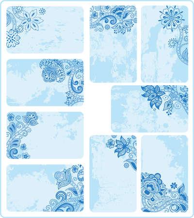 namecard: Blue Floral Grunge Cards