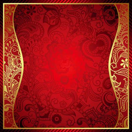 ornate gold frame: Resumen Fondo Rojo Frame Vectores