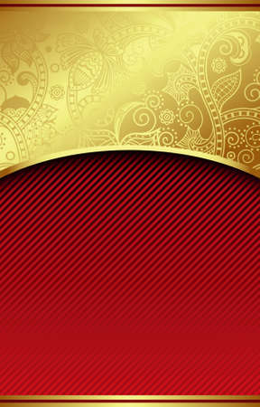 red cards: Ornate gold red curve background Illustration