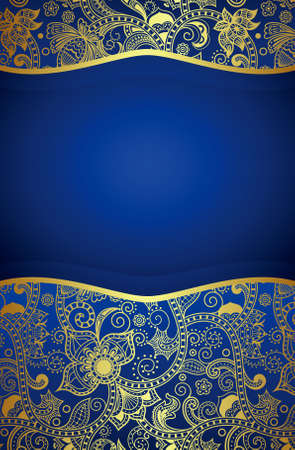 ornate background: Abstract Gold Floral on blue background Illustration