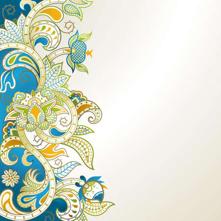 floral scroll: Abstract Blue Floral Illustration