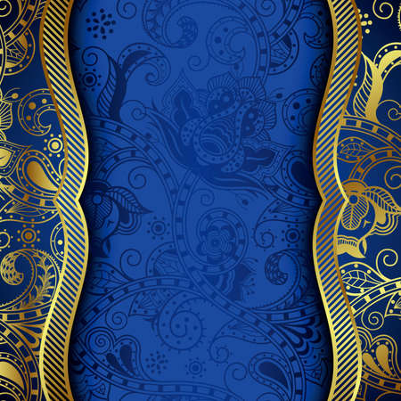 Ornate Gold and Blue Floral Background Vector