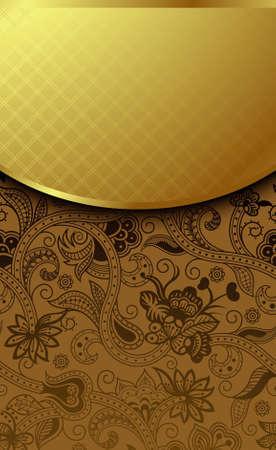 fedő: Díszes arany és csokoládé háttér Illusztráció