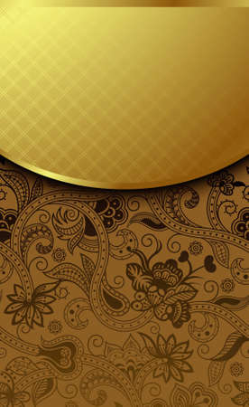 Ornate Gold and Chocolate Background Ilustração
