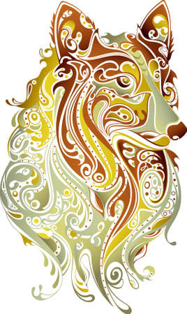 abstract swirl: Abstract Collie Illustration