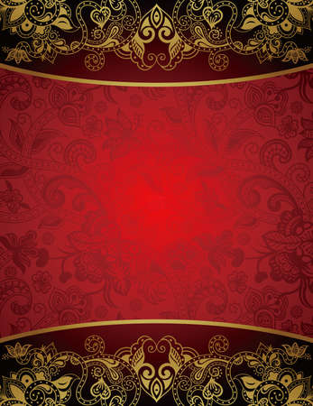 red indian: Abstract Red and Gold Floral Background Illustration