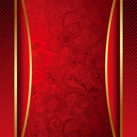 Abstract Red Menu Cover Vector