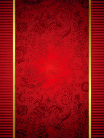 Abstract Red Frame with Floral Background Vector