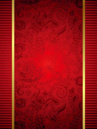 vermelho: Quadro abstrato vermelho com fundo floral