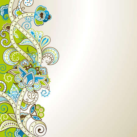 floral scroll: Abstract Green and Blue Floral Illustration