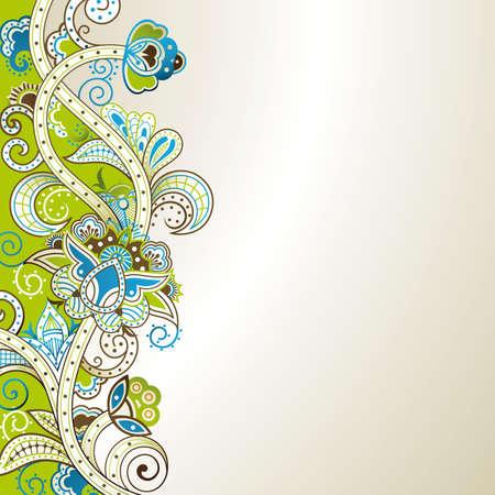 Abstract Green and Blue Floral Ilustração