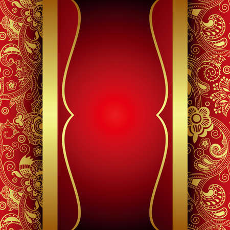 Ornate Gold and Red Background Vector