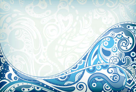 Abstract Blue Curve Background Ilustração