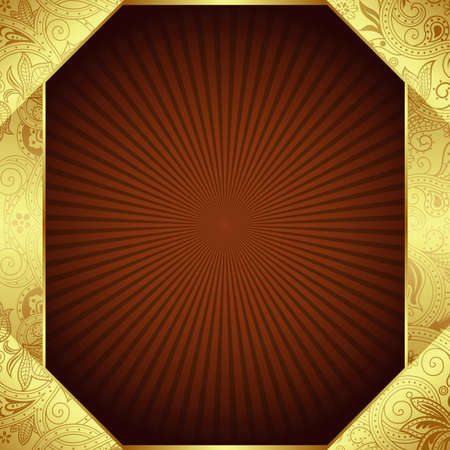 Abstract Gold and Brown Frame Background Vector