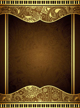 Absract Gold and BrownFloral Frame Vector