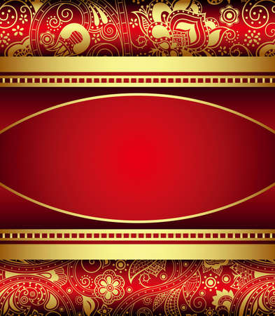 absract: Absract Gold and Red Floral Frame