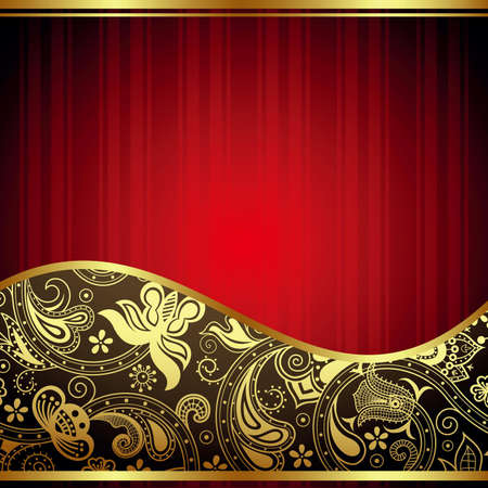 absract: Absract Gold and Red Floral Curve Illustration