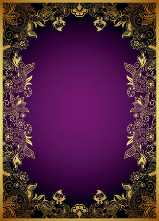 purple and gold: Absract Gold and Purple Floral Frame Illustration