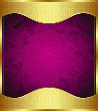 purple and gold: Abstract Frame in Gold and Purple Illustration