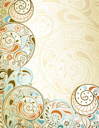 Abstract Curly Floral Background Ilustração
