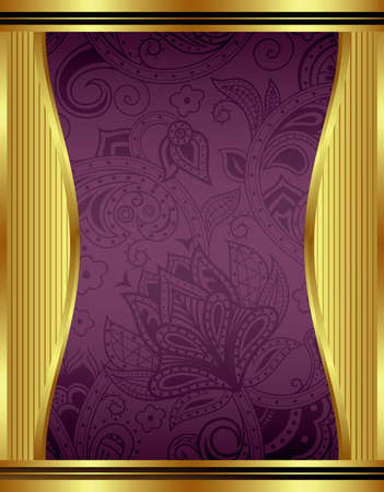 Abstract Gold and Floral Frame Vector