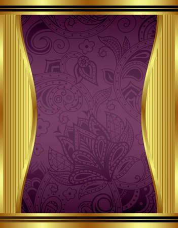 Résumé or et le cadre floral Banque d'images - 21729052