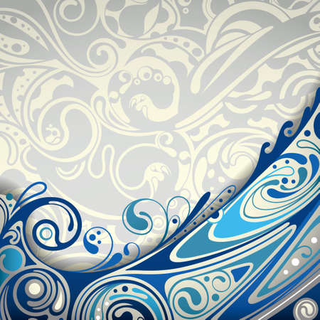 seawater: Abstract Blue Curve Background Illustration