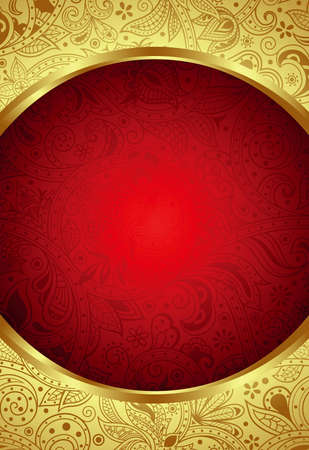Abstract Gold and Red Floral Frame Background