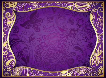 Abstract Purple Floral Frame Background