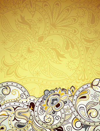 gold swirls: Abstract Gold Floral Background Illustration