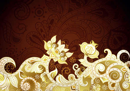 chocolate swirl: Abstract Gold and Brown Floral Background