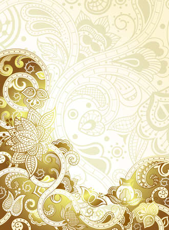 gold floral: Abstract Gold Floral Background Illustration