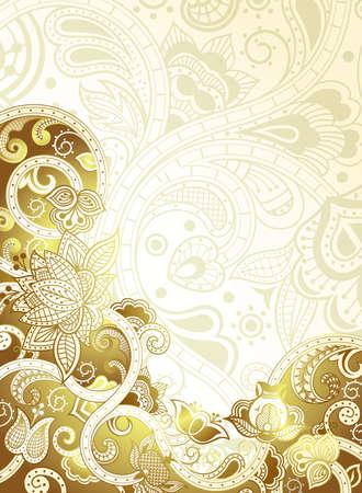 Abstract Gold Floral Background Ilustração