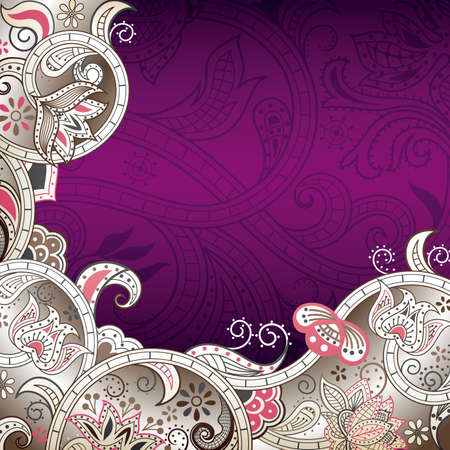 Abstract Purple Floral Background Ilustração