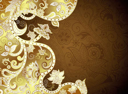gold brown: Abstract Gold and Brown Floral Background