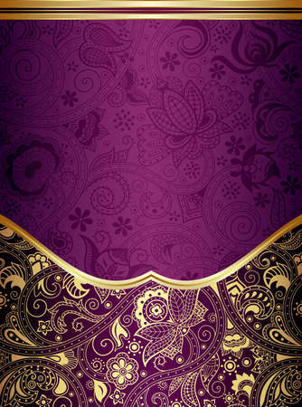 gold swirl: Abstract Gold and Purple Floral Frame Background