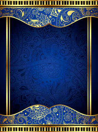 Abstract Gold and Blue Floral Frame Background