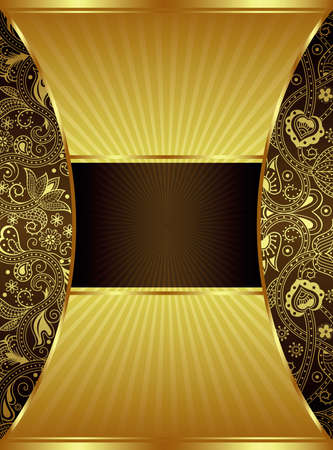 gold brown: Abstract Gold and Brown Floral Frame Background