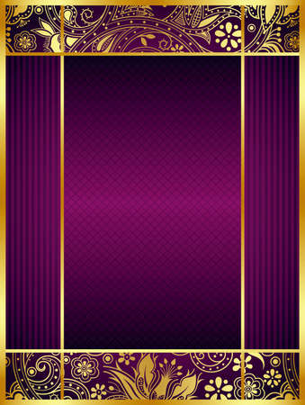 gold frames: Abstract Gold and Purple Floral Frame Background