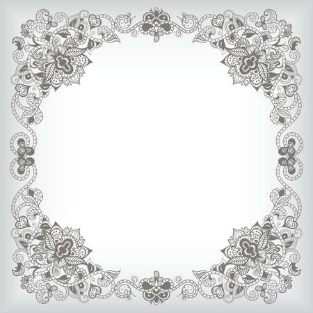 abstract floral: Abstract Floral Frame Background Illustration